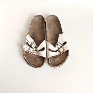Vintage 2 Strap Birkenstock White Leather Size 8